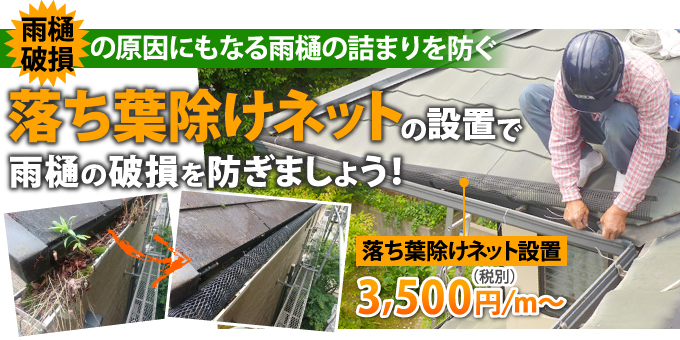 落ち葉除けネットの設置で雨樋の破損を防ぎましょう