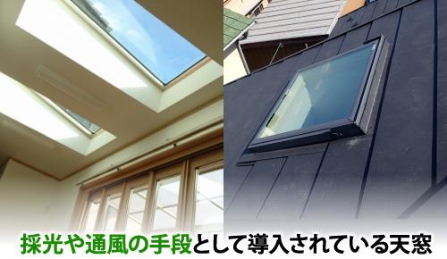 採光や通風の手段として導入されている天窓