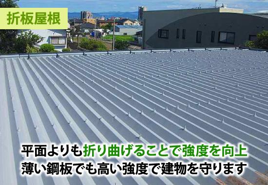 薄い鋼板でも高い強度で建物を守る折板屋根