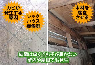 結露は壁内や屋根でも発生