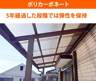 ポリカの屋根材の耐久性