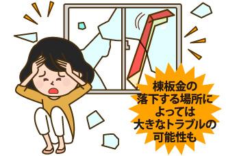 棟板金は落下する場所によっては大きなトラブルの原因にもなる