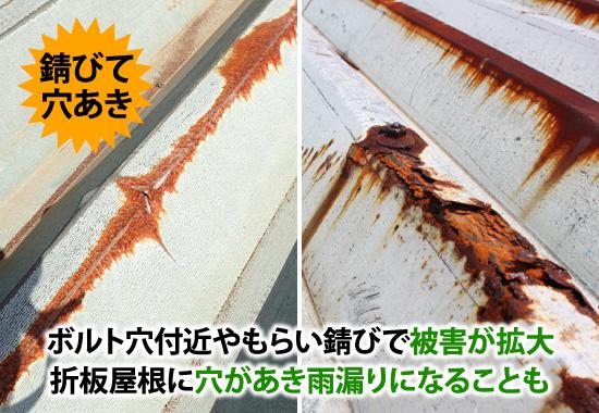 ボルト穴付近やもらい錆で被害が拡大し、折板屋根に穴があき雨漏り
