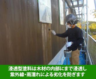 浸透型塗料は木材の内部にまで浸透し 紫外線・雨濡れによる劣化を防ぎます
