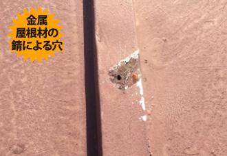金属の屋根材の錆による穴