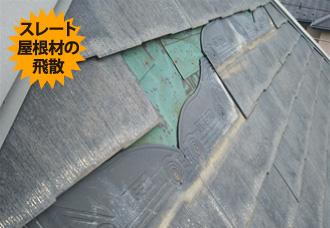 スレート屋根材の飛散