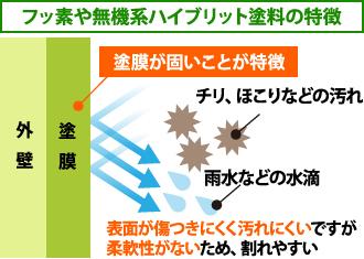 フッ素や無機系ハイブリット塗料の特徴