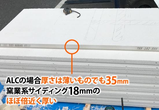 ALCの場合厚さは薄いものでも35mm