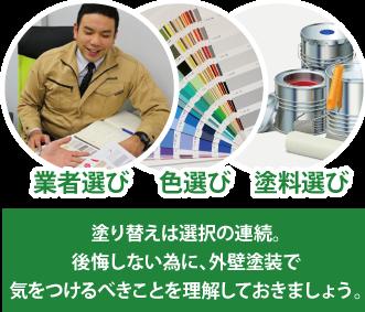 塗り替えは選択の連続。後悔しない為に、外壁塗装で気をつけるべきことを理解しておきましょう