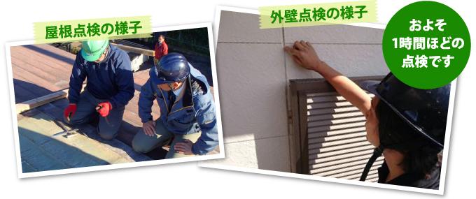 屋根点検と外壁点検の様子 およそ1時間ほどの点検です