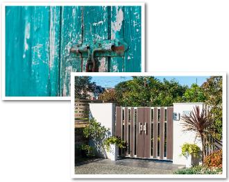 古くなった門扉と鍵、新しい門扉の比較画像