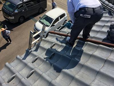 屋根のごみ掃除