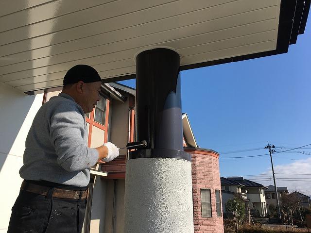 玄関柱鋼板塗装