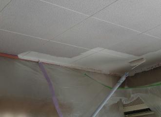 柄の長いローラーで天井を塗布する写真1
