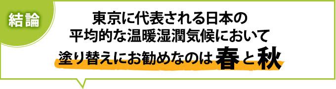 結論は、東京に代表される日本の平均的な温暖湿潤気候において、塗り替えにお勧めなのは春と秋