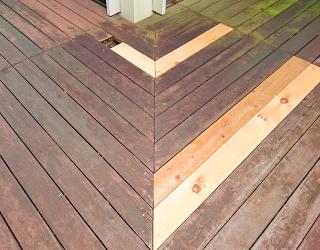 ウッドデッキ木材交換後