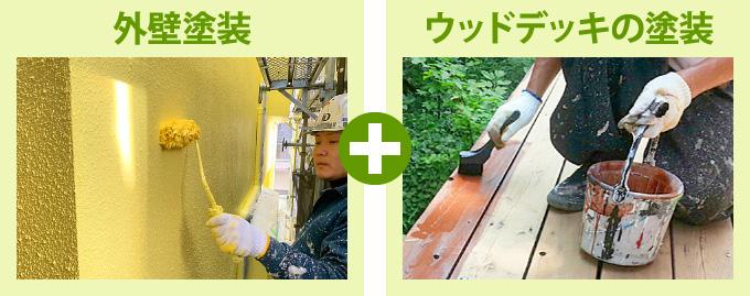 外壁塗装とウッドデッキ塗装