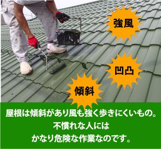 屋根は傾斜があり風も強く歩きにくいもの。不慣れな人にはかなり危険な作業なのです